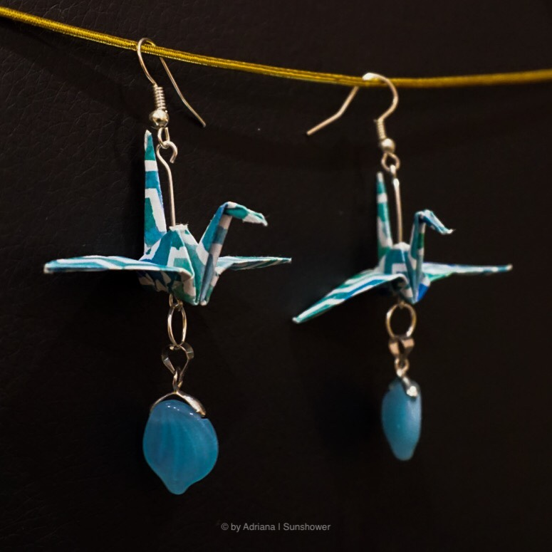 Blue Crane and Pearl Earrings
