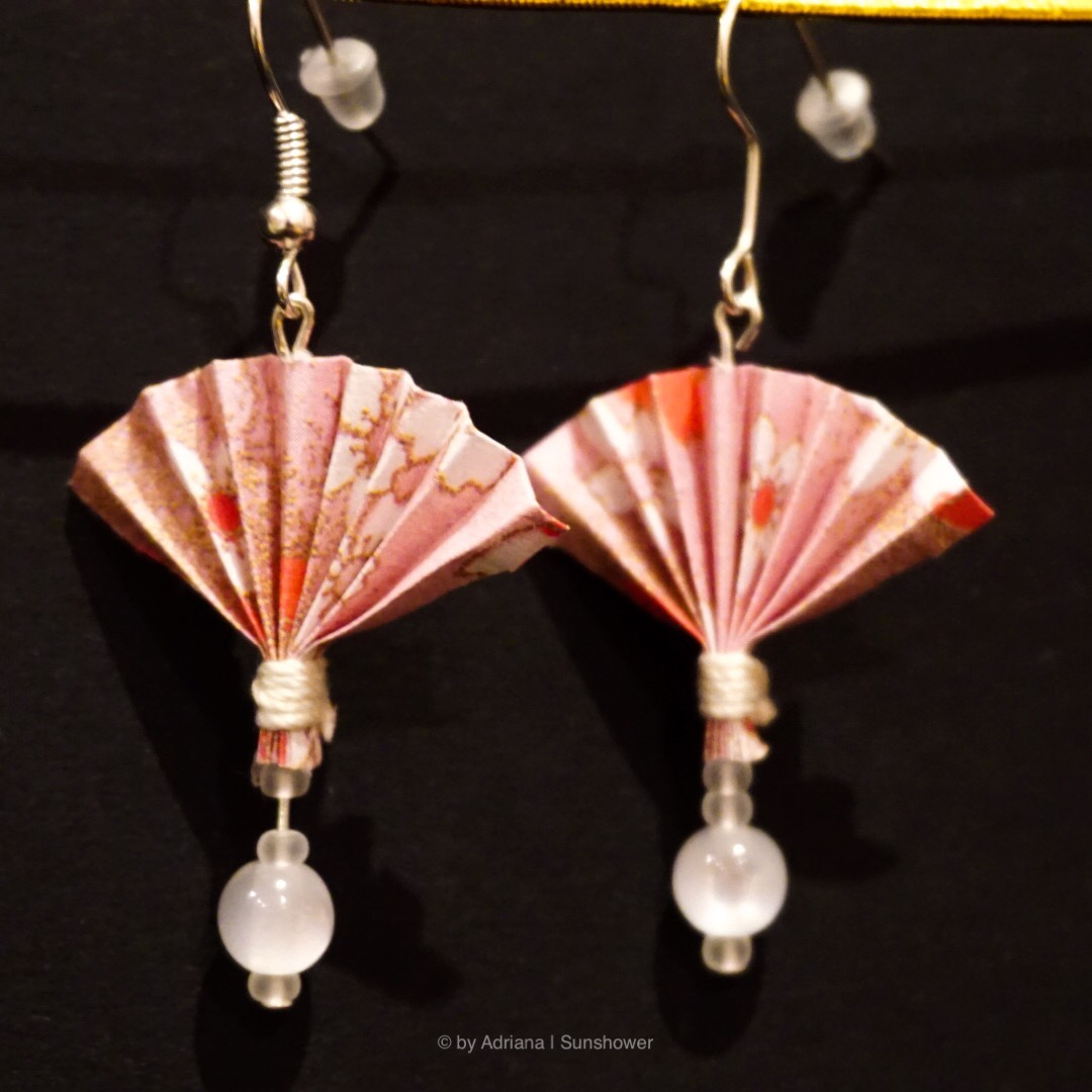 Fan and Pearl Earrings