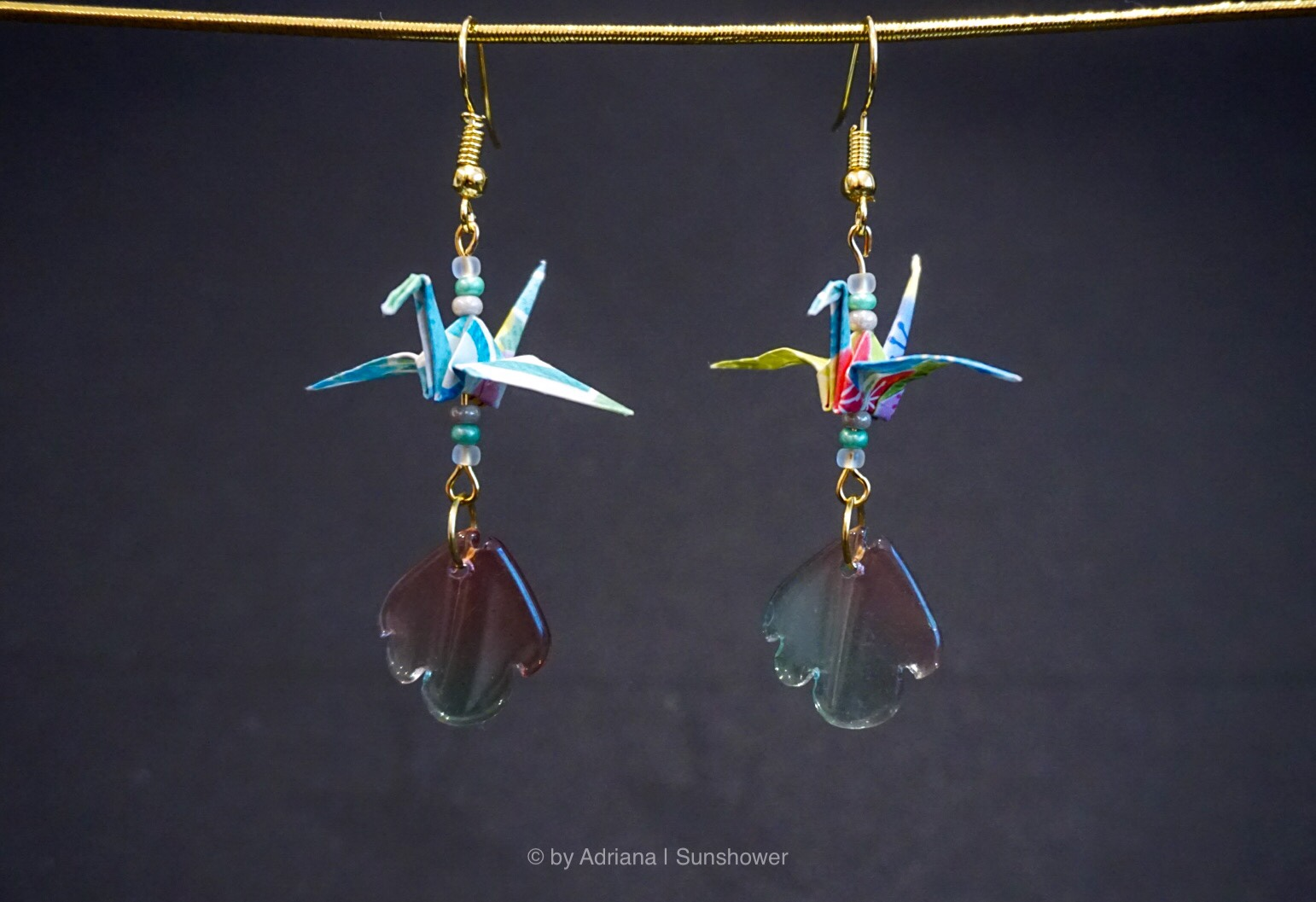 Leaf and Blue Crane Earrings