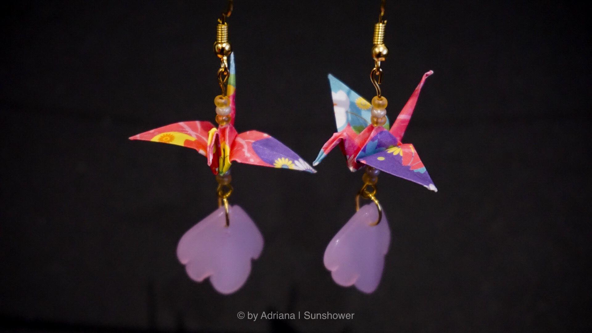 Pink Crane and Leaf